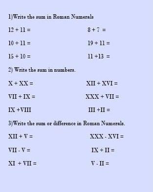 Blank Roman Numerals 1-100 Chart