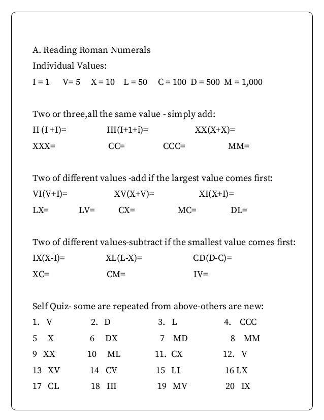 Roman Numeral Worksheet Grade 3